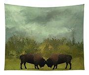 Buffalo Standoff - Painting Tapestry