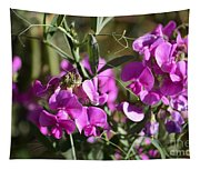 Bunch Of Pink Sweet Peas In The Sun Tapestry