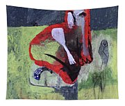 Cat With Other Garden Animals Tapestry