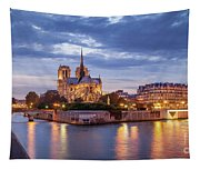 Cathedral Notre Dame And River Seine Tapestry