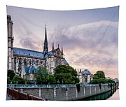 Cathedral Of Notre Dame From The Bridge - Paris France Tapestry