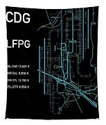 Cdg Paris Airport Black Edition Tapestry by Helge