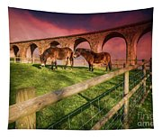 Cefn Viaduct Horses At Sunset Tapestry
