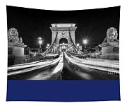 Chain Bridge At Night In Budapest Tapestry