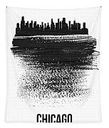 Chicago Skyline Brush Stroke Black Tapestry