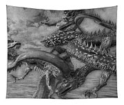 Chinese Dragons In Black And White Tapestry