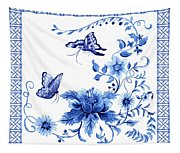 Chinoiserie Blue And White Pagoda With Stylized Flowers Butterflies And Chinese Chippendale Border Tapestry