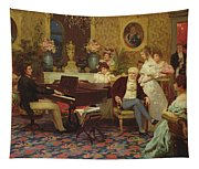 Chopin Playing The Piano In Prince Radziwills Salon Tapestry