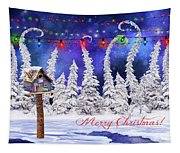 Christmas Card With Bird House Tapestry
