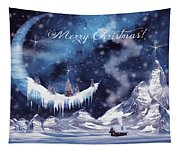 Christmas Card With Frozen Moon Tapestry