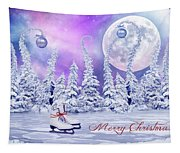 Christmas Card With Ice Skates Tapestry
