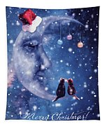 Christmas Card With Smiling Moon And Cats Tapestry