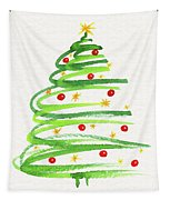 Christmas Tree With Decoration Tapestry