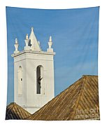 Church Bell Tower Behind Tiled Roofs In Tavira Tapestry