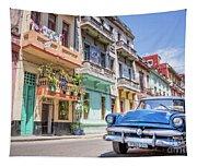 Classic Car In Havana, Cuba Tapestry