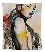 Cleansing Undertones - Zentangle Nude Girl Drawing Tapestry
