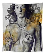 Colony Collapse Disorder - Gold - Nude Warrior Woman With Autumn Leaves Tapestry