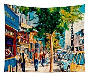 Colorful Cafe Painting Irish Pubs Bistros Bars Diners Delis Downtown C Spandau Montreal Eats         Tapestry