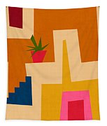 Colorful Geometric House 2- Art By Linda Woods Tapestry