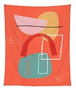 Coral Modern Abstract 2- Art By Linda Woods Tapestry