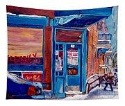 Corner Cafe Clark And Fairmount Wilensky's Winter Scene Habs Hockey Art C Spandau Quebec Artist Tapestry