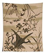 Cranes And Birds At Pond 1880 Tapestry