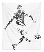 Cristiano Ronaldo Juventus Water Color Pixel Art 1 Tapestry
