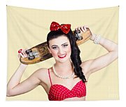 Cute Pinup Skater Girl In Punk Glam Fashion Tapestry