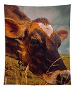 Dairy Cow Eating Grass Tapestry