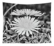 Dandelion Up Close And Personal Black And White Tapestry