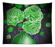 Dark And Delicious Roses  In Green Tapestry
