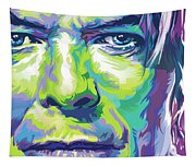 David Bowie Portrait In Aqua And Green Tapestry