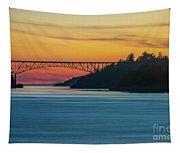 Deception Pass Bridge Sunset Light Tapestry