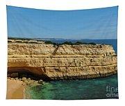 Deserta Beach Scene In Algarve Tapestry