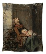 Destitute Dead Mother Holding Her Sleeping Child In Winter, 1850 Tapestry