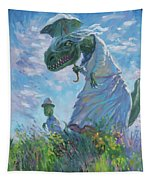 Dinosaur And Son With A Parasol  Tapestry