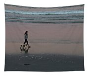 Dog Walking Along The Beach Tapestry