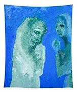 Double Portrait On Blue Sky Tapestry