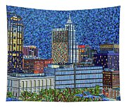 Downtown Raleigh - City At Night Tapestry
