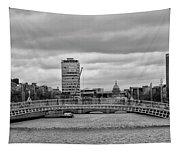 Dublin Ireland - Ha Penny Bridge In Black And White Tapestry