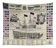 Early 18th Century British Man Of War Ship Diagram Tapestry