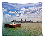 East Pierhead Lighthouse View Of Cleveland Tapestry