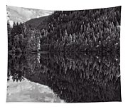 Echo Lake Reflection Black And White Tapestry