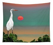 Egret At Evening Tapestry