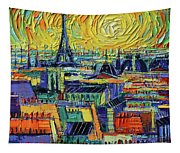 Eiffel Tower And Paris Rooftops In Sunlight Textural Impressionist Stylized Cityscape Mona Edulesco Tapestry