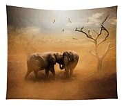 Elephants At Sunset 072 - Painting Tapestry