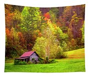 Embraced In Autumn Color Painting Tapestry