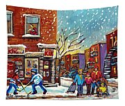 Face Off Street Hockey At The Corner Dep Snow Falling Streets Of Montreal Quebec Artist C Spandau Tapestry