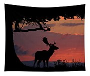 Fallow Stag At Sunset Tapestry