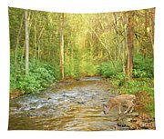 Fawn Drinking From Stream Tapestry